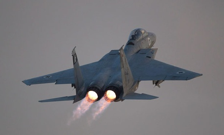 An Israeli air force F-15 fighter plane takes off in central Israel.