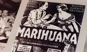 A 1930s anti-marijuana movie poster from part of an exhibit at the DEA museum.