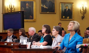 Representatives of organizations that say they were unfairly targeted by the Internal Revenue Service while seeking tax-exempt status, prepare to testify on Capitol Hill on June 4, 2013.