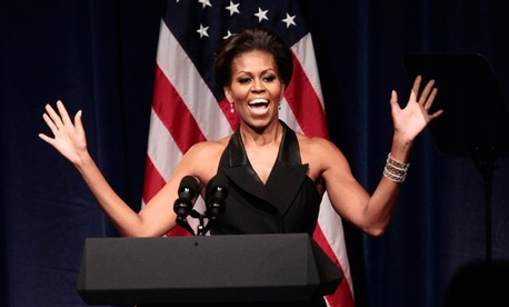 The First Lady was all smiles at a 2011 fundraiser.