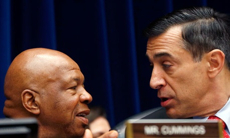 House Oversight and Government Reform Committee Chairman Rep. Darrell Issa, R-Calif., right, talks with the committee's ranking Democrat Rep. Elijah Cummings, D-Md.