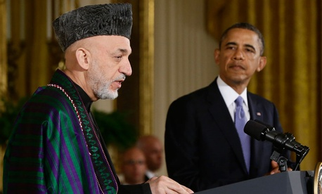 Barack Obama and Hamid Karzai spoke in Washington in January.