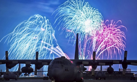 Fireworks burst over Yokota Air Base, Japan on July 4, 2012.