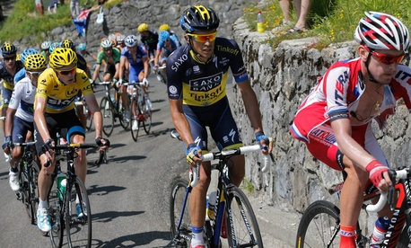 Cyclists compete in the 2013 Tour de France in July.
