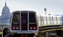 A Washington Metro train makes its way toward Union Station.