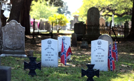 Confederate graves, featuring the Southern Cross of Honor, at Magnolia Cemetery in Charleston, S.C.