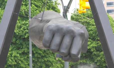 The statue of Joe Lewis' fist is a Detroit landmark.