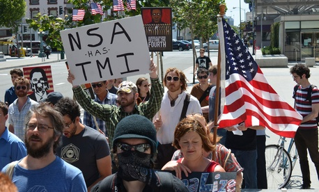 Protestors gathered at in San Francisco on July 4.