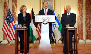 John Kerry, Israeli Justice Minister Tzipi Livni, and Palestinian Chief Negotiator Saeb Erekat address reporters July 30.