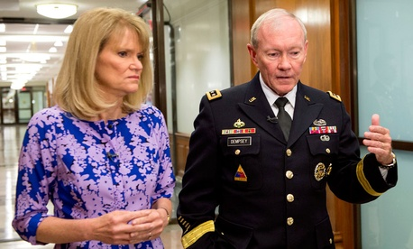 Gen. Martin Dempsey speaks with ABC News Chief Global Affairs Correspondent Martha Raddatz in the Pentagon on Aug. 2, 2013.