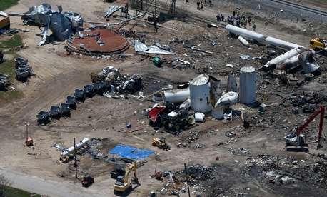 The fertilizer plant explosion in West, Texas occurred in April.