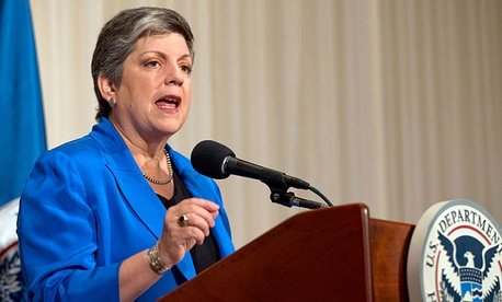 Homeland Security Secretary Janet Napolitano gestures as she gives her farewell address at the National Press Club in Washington.