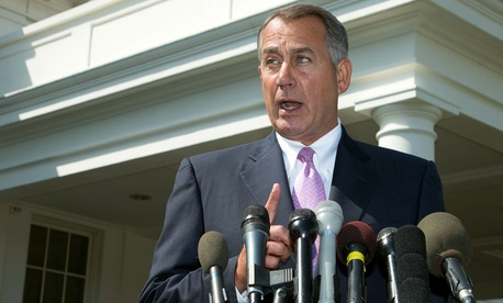 House Speaker John Boehner speaks to reporters outside the White House about the situation in Syria.