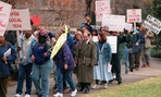 Furloughed federal workers held demonstrations in 1995 when the government was shut down.