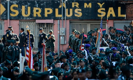 Veterans participate in a Veterans Day parade in Atlanta in November.