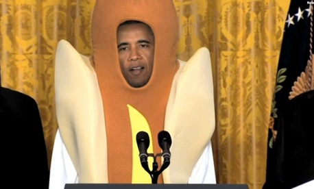 Late Night dressed Obama up as a hot dog for Halloween.