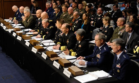 Military brass convene before the Senate Armed Services Committee to testify for a hearing on pending legislation regarding sexual assaults in the military.