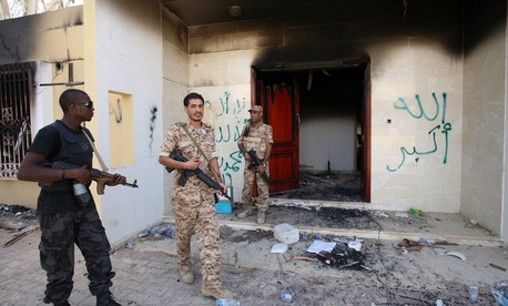 The burnt out U.S. consulate in Benghazi, Libya.