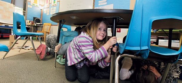 Earthquake drills prepare West Coast students like Jaely John of Washington.