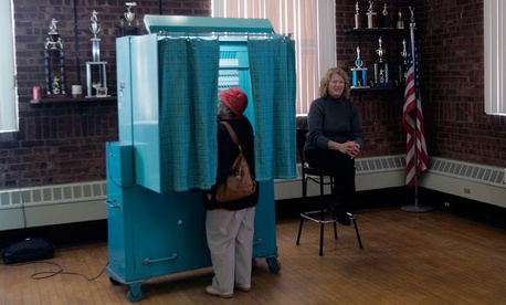 A Stockport, N.Y., resident votes in 2008.