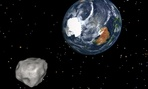 This image provided by NASA/JPL-Caltech shows a simulation of asteroid 2012 DA14 approaching from the south as it passes through the Earth-moon system.