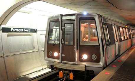 A Metro car leaves the Farragut North station in 2010.