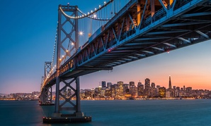 The Bay Bridge in northern California is a stretch of Interstate 80 that connects San Francisco and Oakland.