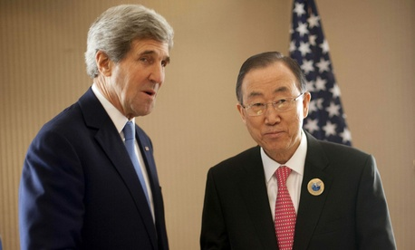 U.S. Secretary of State John Kerry, left, and UN Secretary General Ban Ki-Moon