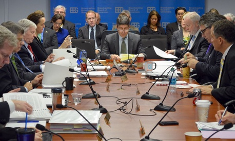 Chairman Jeffrey Shell presides over the Dec. 18 meeting of the Broadcasting Board of Governors.