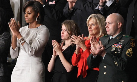 Michelle Obama sat with Brianna Mast, Jill Biden ad Staff Sgt. Brian Mast during President Barack Obama's 2011 State of the Union