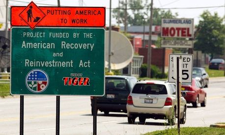 A sign indicating Recovery Act work was put up in Waukegan, Ill. in 2009.
