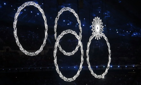 One of the snowflakes failed to open into an Olympic ring during the opening ceremonies last week.