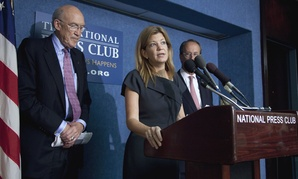 Maya MacGuineas, center, flanked by Alan Simpson, left, and Erskine Bowles, runs Fix the Debt.