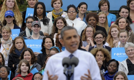 Barack Ocama spoke to college students at a campaign stop at George Mason University in 2012.