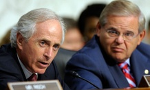 Senate Foreign Relations Committee Chairman Sen. Robert Menendez, D-N.J., right, and Sen. Bob Corker, R-Tenn., left.