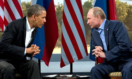 President Barack Obama speaking with Russian President Vladimir Putin in Enniskillen, Northern Ireland, Monday, June 17, 2013.