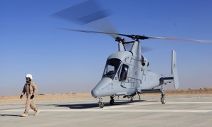 A K-MAX pilotless freight helicopter sits at Camp Dwyer in Afghanistan's Helmand province, in Dec. 2011. The unmanned cargo helicopter flies missions to remote outposts above roadside bombs.
