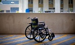 A wheelchair sits outside the Atlanta VA Medical Center, Friday, May 24, 2013.