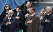U.S. Vice President Joe Biden, Boston Mayor Marty Walsh, and former Boston Mayor Thomas Menino, stand along with the family of Boston Marathon bombing victim Martin Richard.