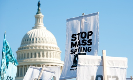 Protestors demonstrated against NSA surveillance in Washington in 2013.