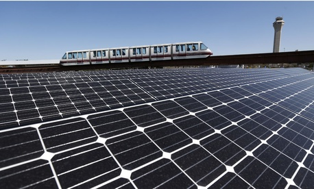 Solar panels that were recently placed on the roof of the building supplying energy to the AirTrain at Newark Liberty International Airport.