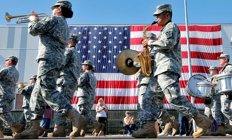 The Arizona Army National Guard 108th band plays during a Veteran's Day parade in 2013.