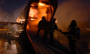 Federal firefighters assigned to  Navy Region Hawaii Federal Fire Department train.