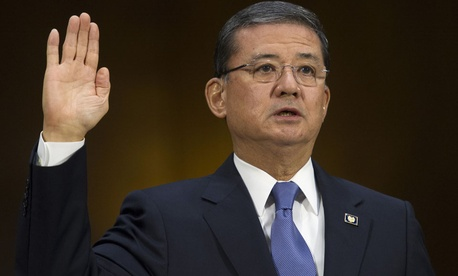 Veterans Affairs Secretary Eric Shinseki is sworn in on Capitol Hill Thursday.