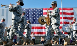 The Arizona Army National Guard 108th band plays during a Veteran's Day parade in 2013, in downtown Phoenix.