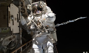 Astronaut Steve Swanson is pictured during a spacewalk on the International Space Station.