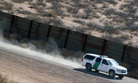 A CBP vehicle patrols the Arizona/Mexico border in 2011.