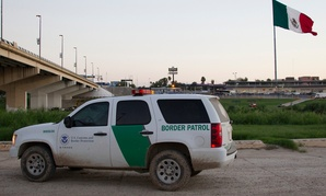 A CBP vehicle stands in Laredo, Texas, looking into Nuevo Laredo, Mexico in September.