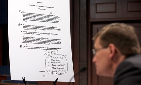An unclassified talking points document is shown as former CIA Deputy Director Michael Morell testifies on Capitol Hill in April