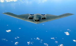 A B-2 stealth bomber flying over the Pacific Ocean. The current U.S. bomber fleet includes 20 25-year-old B-2s.